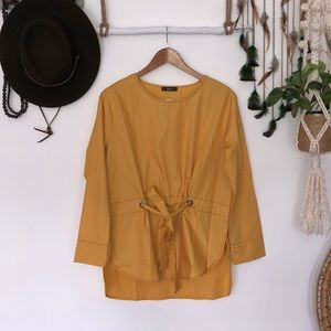 SHEIN yellow tie front tunic size L